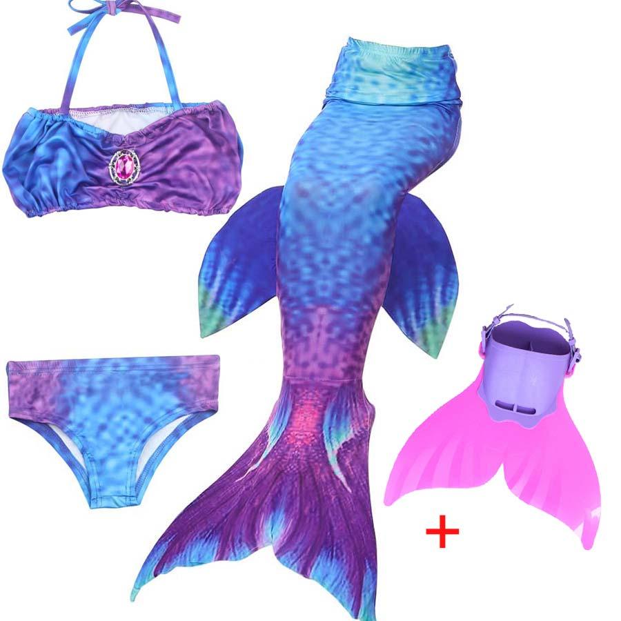 Girls Swimming Mermaid Tails with Monofin Costume Cosplay Mermaid Tail Swimmable Swimsuit  Girls Bathing Suit Swimwear Swim Fin