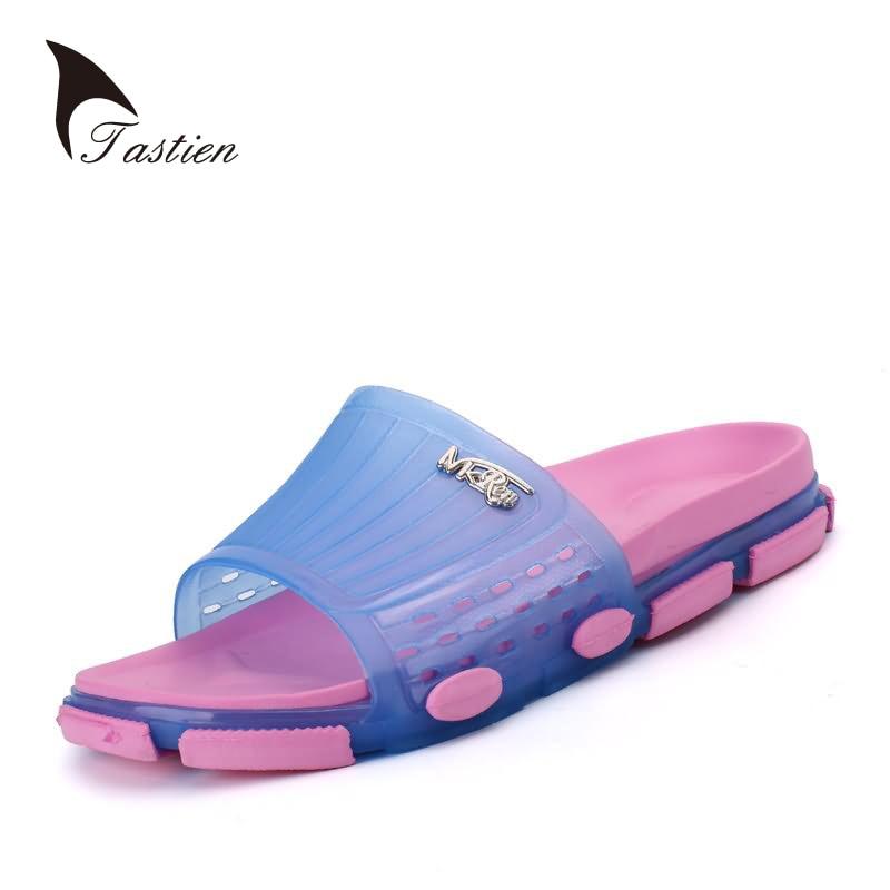 TASTIEN Men Women Couple Beach Slippers Bath Slippers Summer Male Female Shoes Sandals Slides Flip Flops
