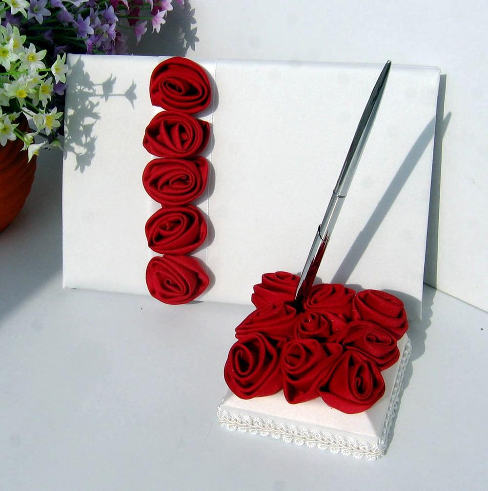 4 pièces/ensemble rouge/Rose Rose décor mariage Satin anneau oreiller et panier de fleurs et livre d'or et stylo ensemble pour la décoration de mariée fournitures de produits - 6