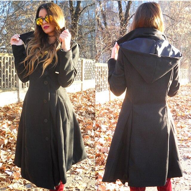 Шикарный Для женщин зимнее платье рубашка с отложным Подпушка воротник леди Officewear нерегулярные ретро Дизайн и пуговицы с длинными рукавами, шерстяные Vestido плюс Размеры