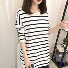 100%Cotton Long T-shirt Women 2019 New Autumn Sleeve O-Neck Striped Female T-Shirt White Casual Basic Classic Tops