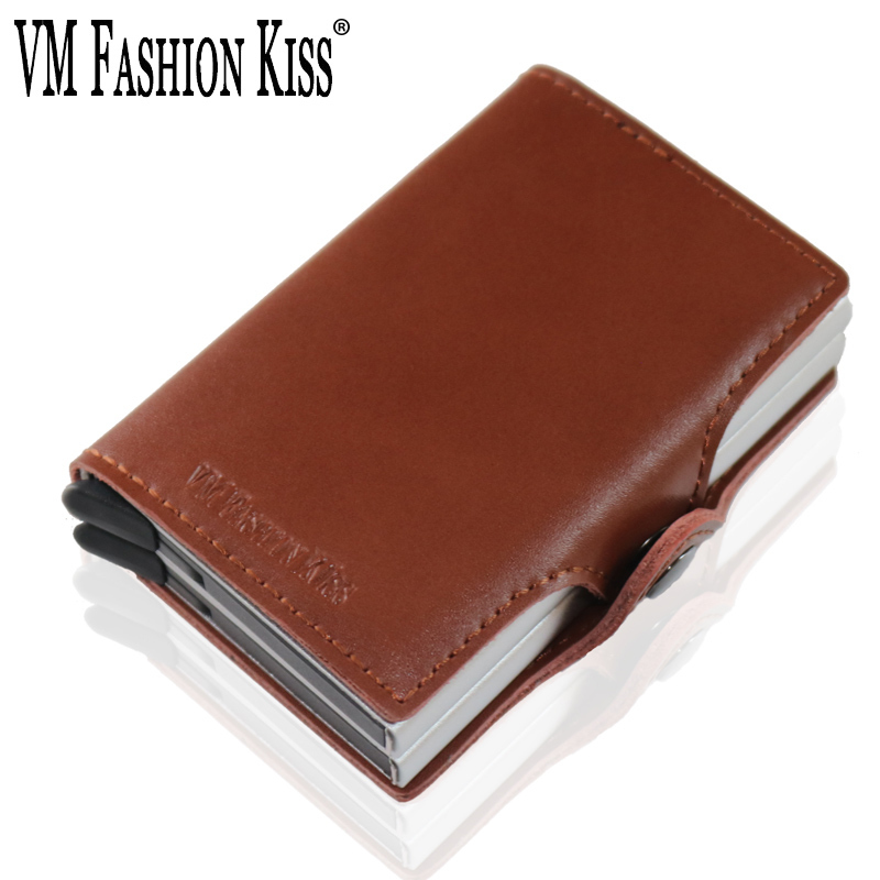 VM FASHION KISS RFID Genuine Leather Mini ID Wallet Security Double Aluminum Box Credit Card Holder Metal Purse Men Small Wallet slide wallet