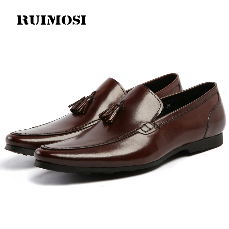 RUIMOSI Stylish Man Casual Creepers Shoes Genuine Leather Comfortable Loafers Designer Brand Men's Tassels Driving Flats AS37