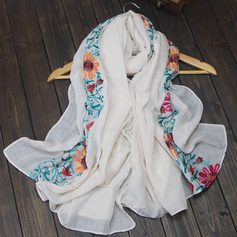 ᑎ‰Las mujeres bordan flor Mantones pashmina algodón Niza invierno ...