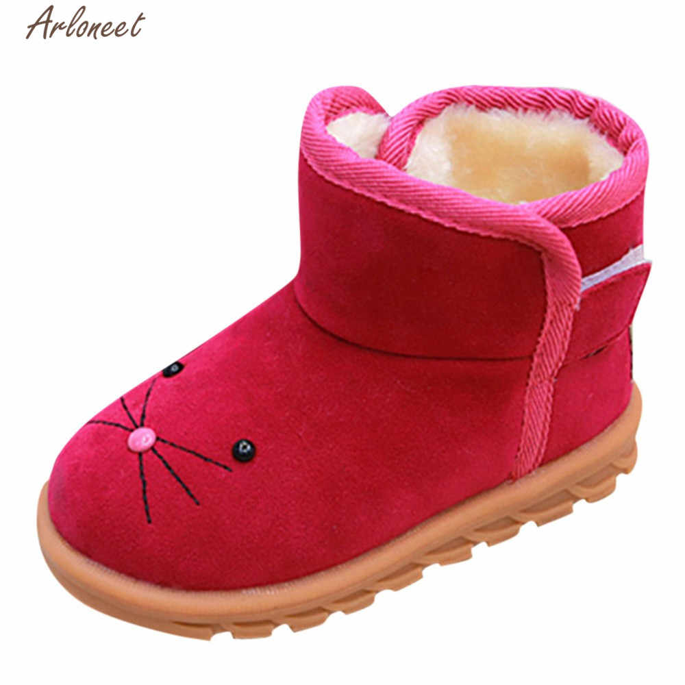 ARLONEET Shoes 2018 Autumn And Winter fashionable Kid Girls Boys Flock  Martin Boots Child Student Hook Loop 127067df2ade