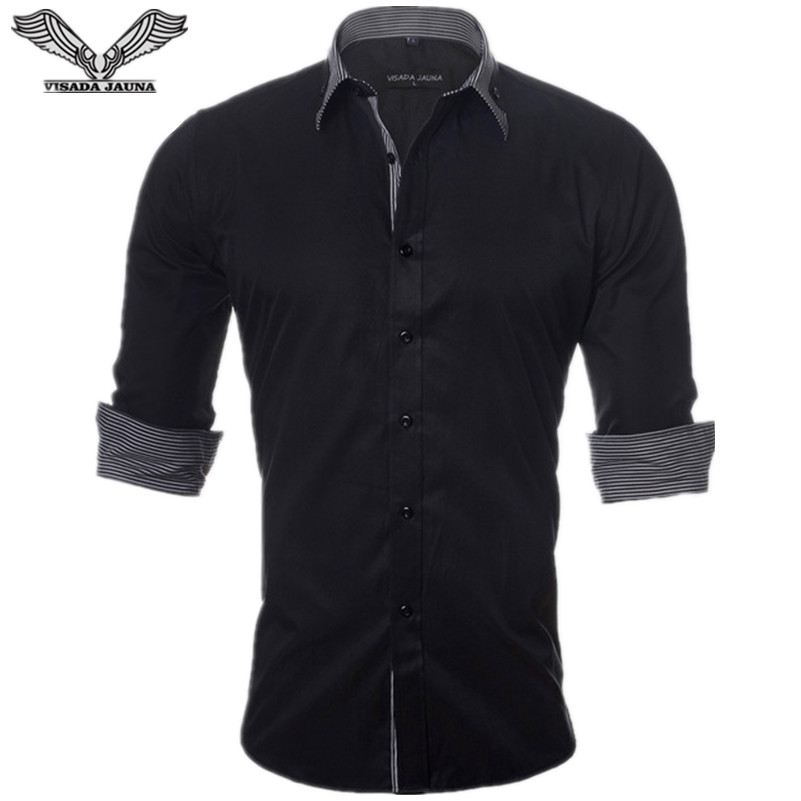 VISADA JAUNA Europäische Größe Neue 2017 Herrenhemd Langarm-shirt Baumwolle Aufgeführt Beiläufiges Patchwork Dünne Fitness N892