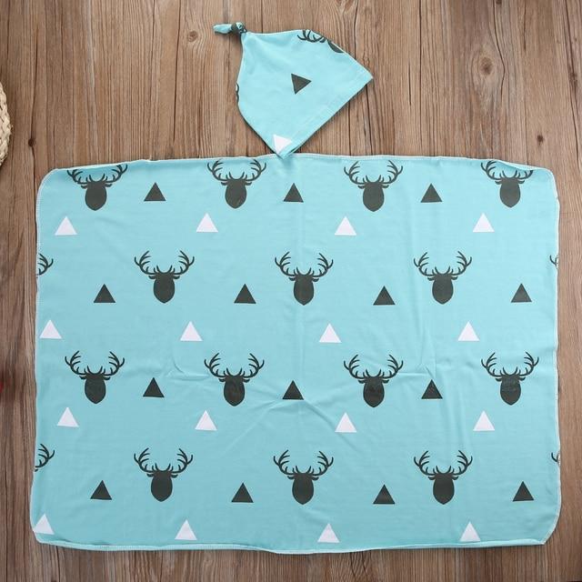 733075fdfab Newborn Infant Baby Boy Deer Swaddle Blanket +Hat Boy Coming Home Cotton  Bath Towel