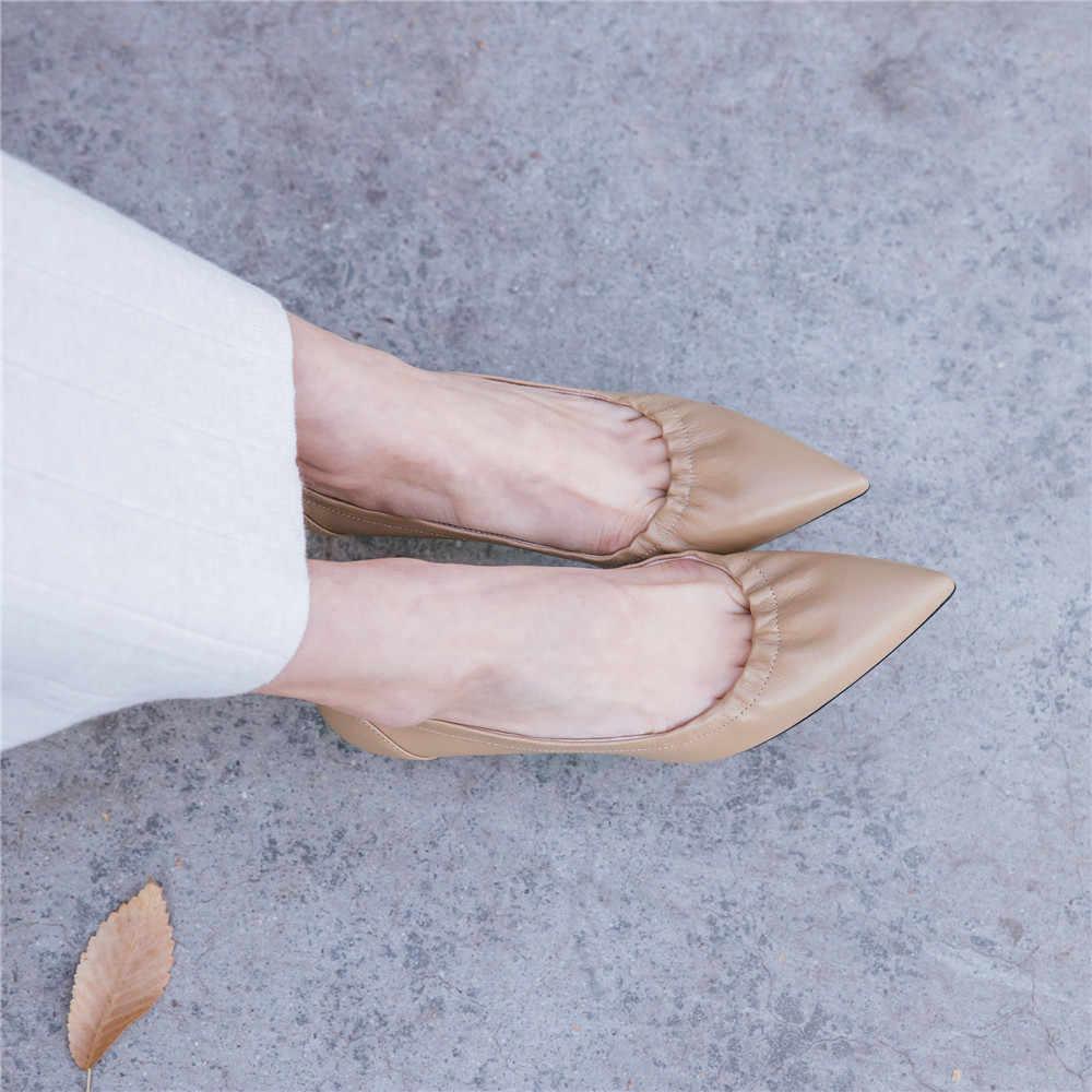 ผู้หญิงรองเท้าส้นสูง 7 ซม.ส้นปั๊ม Lady เซ็กซี่ Pointed Toe สีชมพูรองเท้า Handmade Apricot Beige AMN01 MUYISEXI