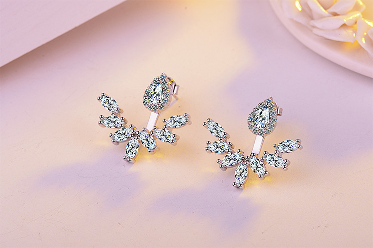 Sweet Shiny Cubic Zirconia Flower 925 Sterling Silver Lady Stud Earrings Original Jewelry For Women No Fade Birthday Gift Girls in Stud Earrings from Jewelry Accessories