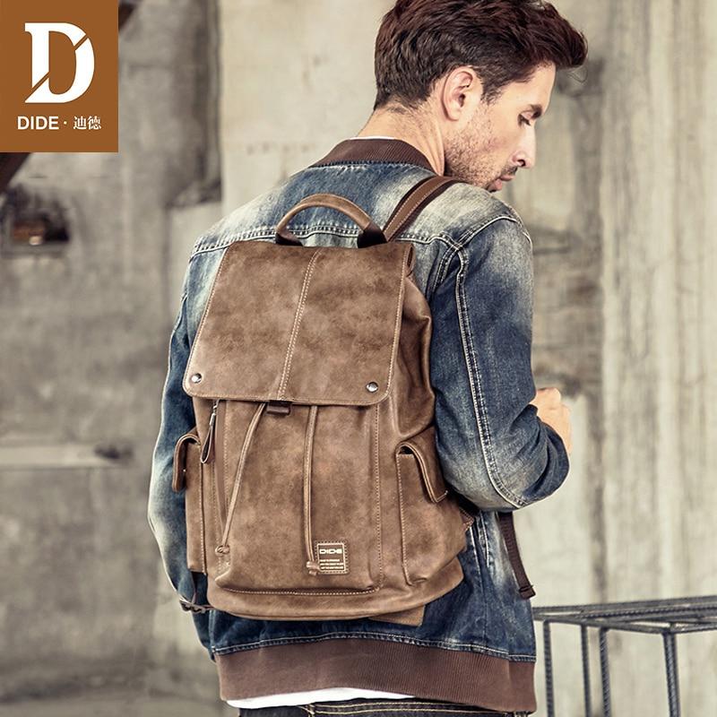 DIDE pokrywa wodoodporny plecak mężczyźni 14 15 Cal plecaki na laptopa dla mężczyzn torba szkolna szrot lub podróży plecak PU skórzana torba w Plecaki od Bagaże i torby na  Grupa 2