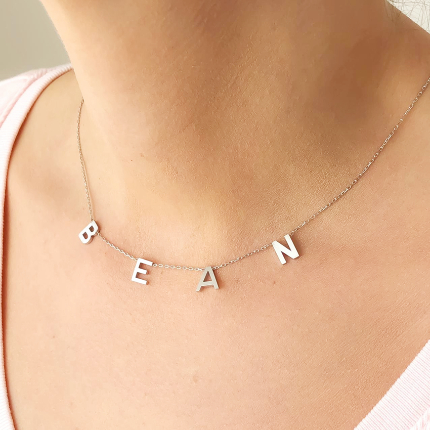 Dainty Personalized Initial Letters Dangled Necklaces Stainless Steel Custom Name Pendants For Women Choker Jewelry Dropshipping
