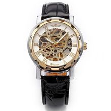Brand Winner Luxury Skeleton Automatic Watch Men Mechanical Leather Strap Reloj Silver Golden Dress Hand Wind Timepiece /PMW069