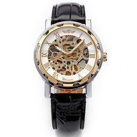Brand New Luxury Skeleton Dial Mechanical Leather Strap Reloj Silver Golden Case Men S Analog Dress