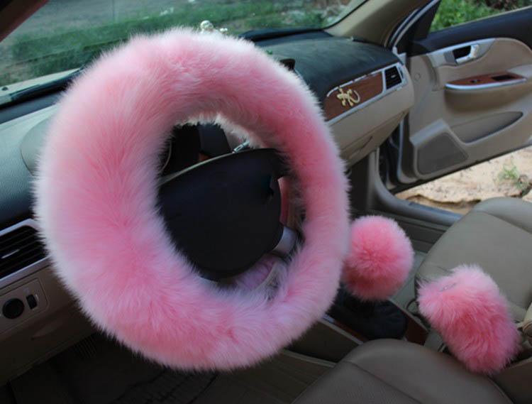38cm Fur Steering Wheel Cover