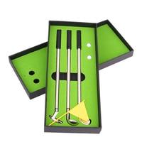 3pcs Mini Golf Clubs Models Ballpoint Pens 2 Golf Balls Flag Putter Kit Set Gift