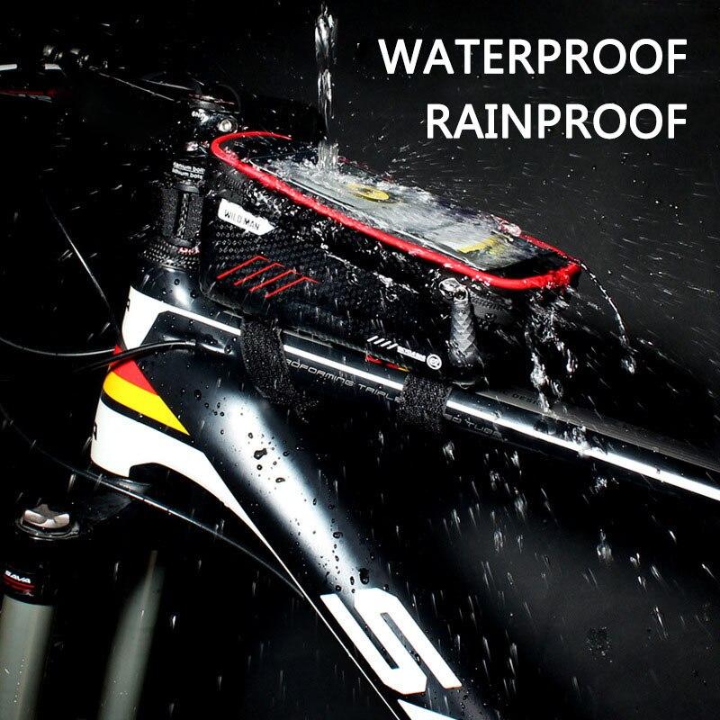 WILD MAN Mountain Bike Bag Rainproof Waterproof Mtb Front Bag 6.2inch Mobile Phone Case Bicycle Top Tube Bag Cycling Accessories 2