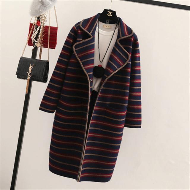 Otoño Invierno Mujeres Cardigan 2016 de La Raya de Punto Cardigan Suéter Largo femenino de Corea del bolsillo de la Chaqueta de punto de Alta Calidad D302