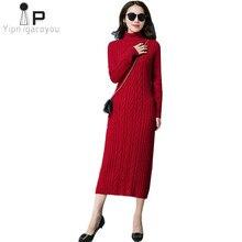 855de375977 Long col roulé pull robe femmes 2019 nouveau hiver chaud pull tricot robe  Slim grande taille