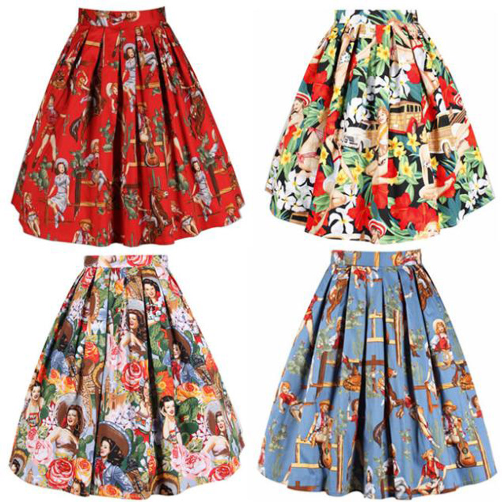 50s Rockabilly Retro Hepburn Western Cowgirl Horse Printed Pleated Midi Skirt - Sexy Woman Line store
