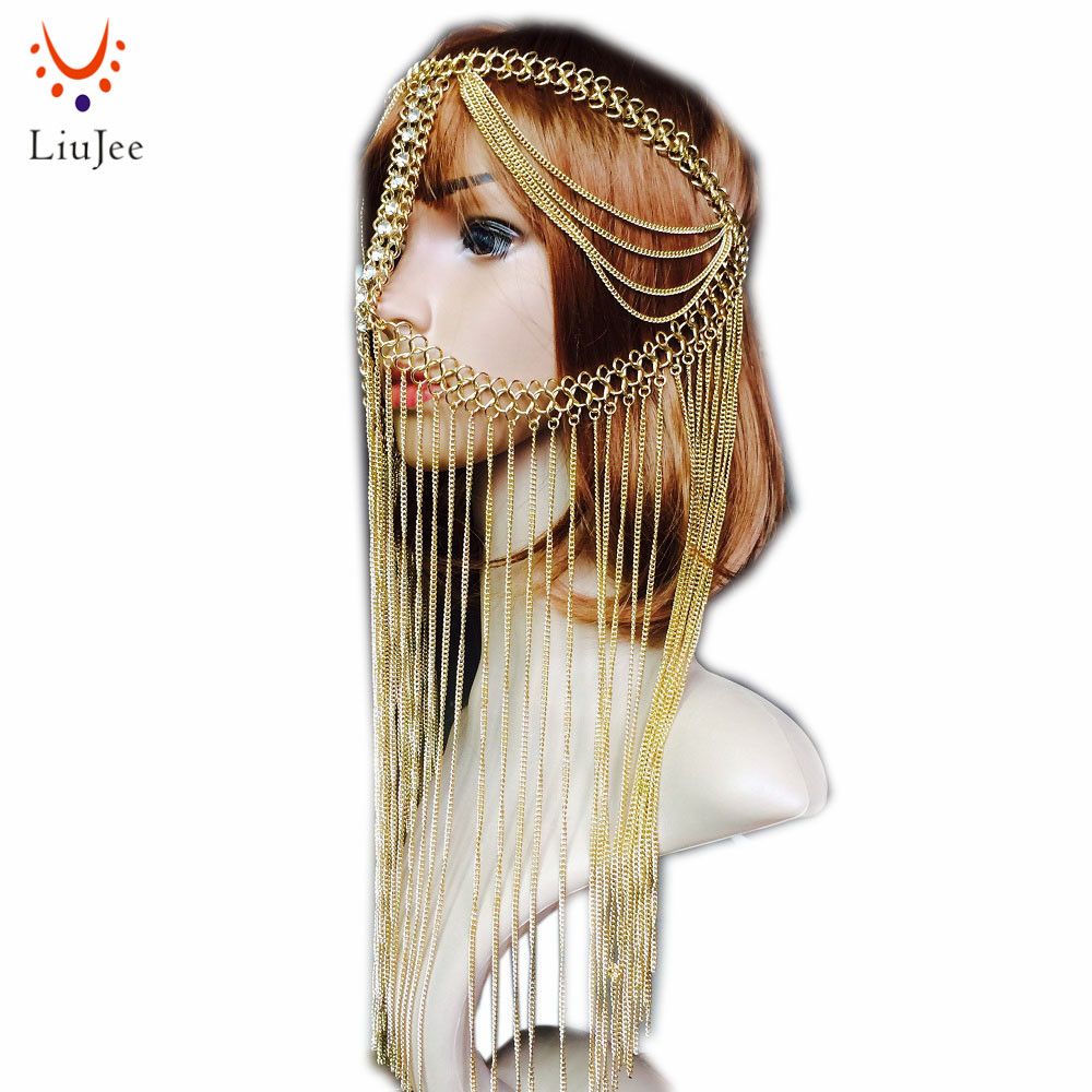 Head chain Tribal fusion golden chandelier Face chain harness jewelry headdress belly dance Hair Jewelry KD040 fascinator fashion bride headdress feathers dance show headdress covered the face veil party hat headdress hairpin headwear