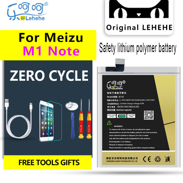 LEHEHE Battery For Meizu M1 Note BT42 3100mAh Battery Bateria Replacement Free Tools Gifts