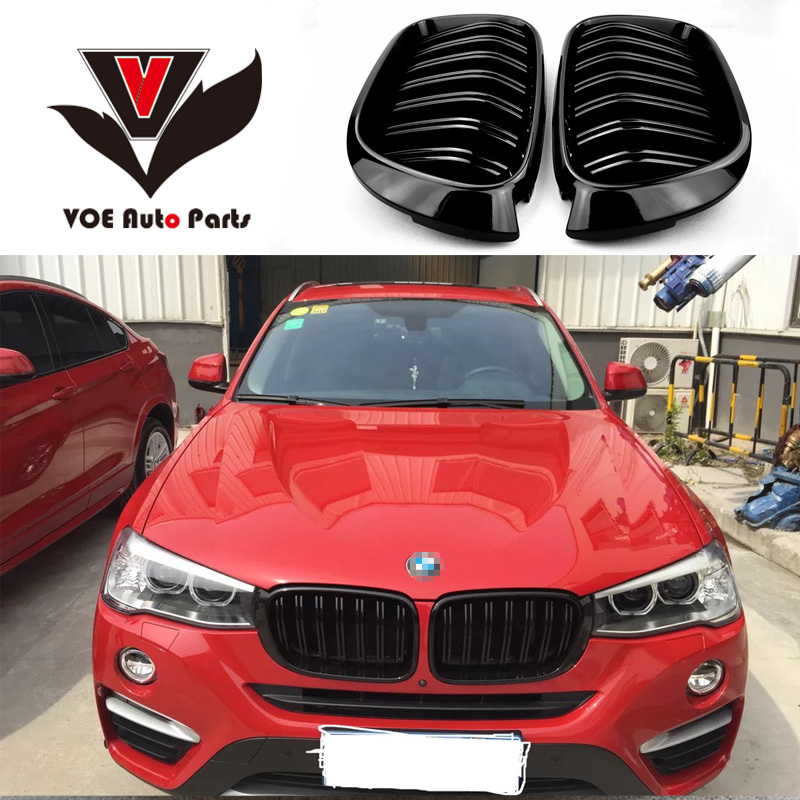 F25 F26 Gloss Black ABS Plastic Auto Car 2-line Front Racing Grill Grille for BMW F25 X3 BMW F26 X4 2014 2015 2016 2017 2018 x3m x4m style durable abs front hood grill for 2014 2015 2016 bmw x4 f26