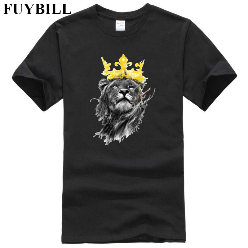 FuyBill Mens Lastest 2018 New Style Fashion Short Sleeve King of Lion Printed T-shirt Funny Tee Shirts Hipster O-neck Cool Tops