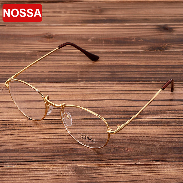 9bf2283740d Gold Vintage Glasses Frame Women Men Retro Round Metal Eyeglasses Frame  Bronze Myopia Glasses Classical Eyewear