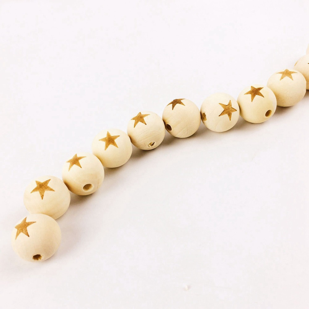 Food Grade Wooden Teething Original Teething Wood 50PCS 20MM Star Shape Beads Child Toys DIY Crafts Accessories Nature Maple