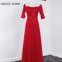 W Magazynie Red Prom suknie Wieczorowe Scoop Dekolt-line Wieczór Partyjnej sukni Długość Podłogi Koronki Pół Rękawa Vestidos Rzeczywistym zdjęcie