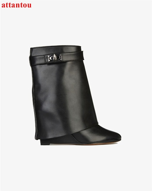 Hot Selling High Quality Shark Lock Suede Wedge Boots Height Increasing  Fold Over Ankle Boot Women 392382558360