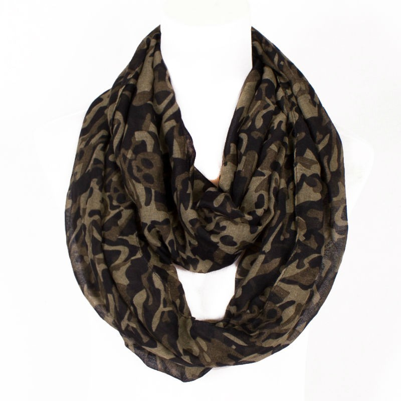 3 Colors !2017 Fahsion  Design  Skull Print  Ring Scarfs For Women Lightweight Polyester Winter Military Loop Lady Soft Warm