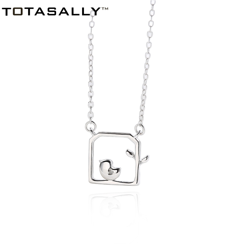 TOTASALLY Hot Ladies' Necklace100% Real 925 Sterling Silver Lovely Pretty Little Bird Pendant Necklace For Daily Life Jewelry