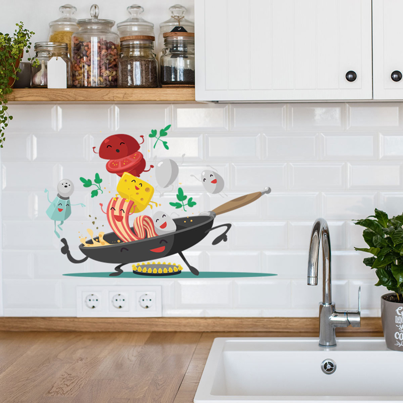 Cartoon Happy Pan Kitchen Wall Sticker For Kitchen Fridge Cupboard Decoration Art Decals Removable Home Stickers Mural Wallpaper