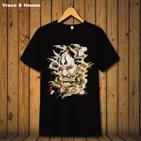 Chinese stijl mountain god patroon printing mode korte mouw t-shirt Zomer 2017 zachte ademend kwaliteit t-shirt mannen S-XXXL