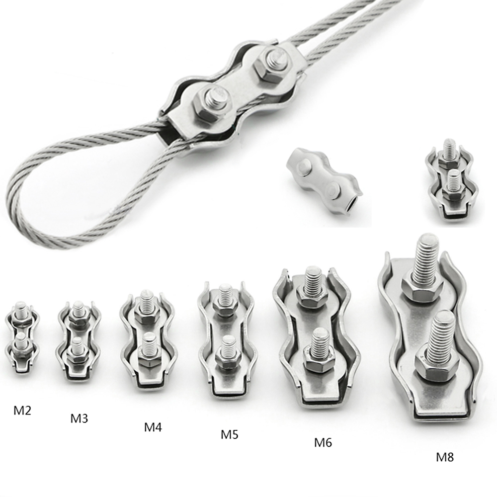 2 x 16mm 5//8 inch Wire Rope Grips Clamps and Thimbles Strong Steel Cable Cord Tie U Bolts Rope Chain Wire Complete
