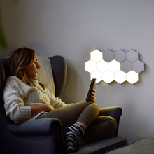 Touch-sensing quantum wall lamp Assembling hexagonal combination honeycomb sconce Led magnetic creative decorative