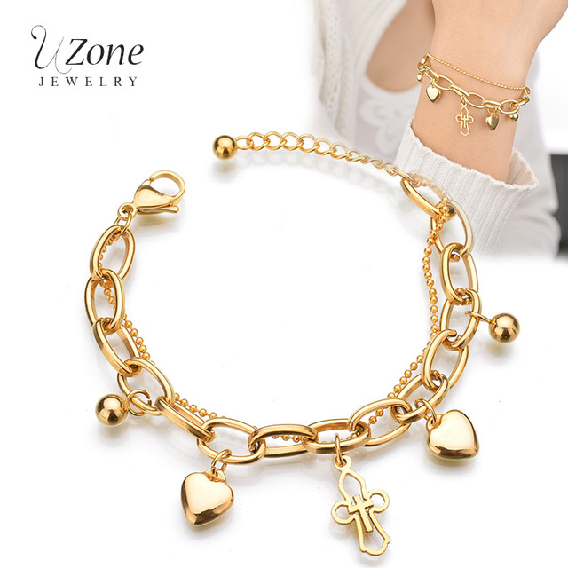 Trendy Christian Jewelry Multilayer Chain Heart Cross Gold Color