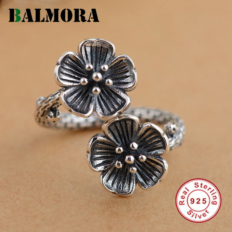 BALMORA 100% Real 925 Sterling Silver Jewelry Retro Flower Opening Rings for Women Lover Party Valentine's Gift Bijoux SY21496