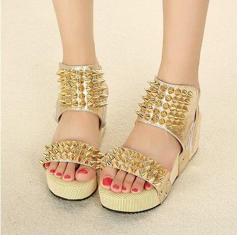 44c2639133 2013 Womens Gold Platform Gladiator Sandals Hotsale Ankle strappy High Heels  Shoe Lady Sex Studded Ladies Designer Rivets Sandal