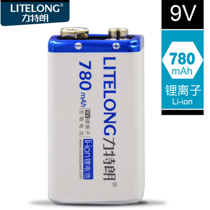 Фото Free shipping 780mAh 9v li-ion lithium Rechargeable 9 Volt Battery for mike Manufacturer