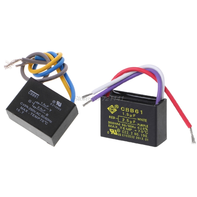 Black Cbb61 1 5uf 2 5uf 3 Wires Ac 250v 50  60hz Capacitor