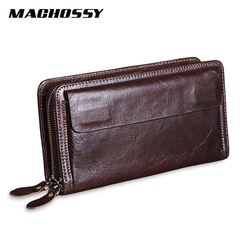 Men Clutch Wallets Purses Phone-Bag Business Cowhide Large-Capacity Quality Male Double-Zipper