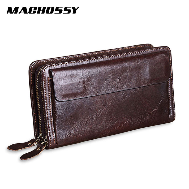 Quality Cowhide Men Clutch Wallets Genuine Leather Long Purses Business Large Capacity Wallet Double Zipper Phone Bag For Male