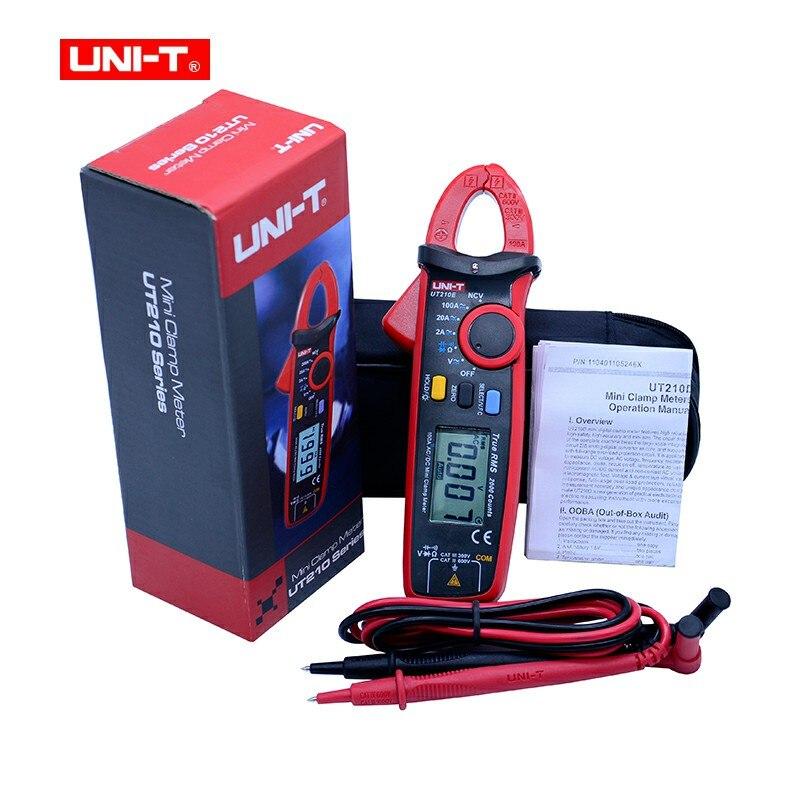 Mini Digital abrazadera metros AC/DC voltaje actual UNI-T UT210 serie de RMS verdadero Auto de la gama VFC capacitancia sin contacto multímetro