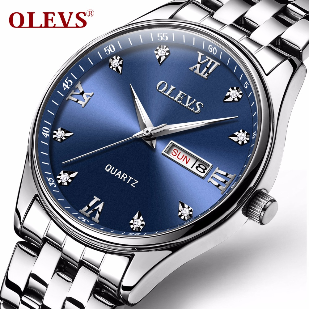 Weekly Calendar Quartz : Aliexpress buy olevs big face waterproof watch for