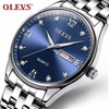 OLEVS Big Face Waterproof Watch For Men Week Calendar Steel Strap Wristwatches Roman Numerals Dial Quartz