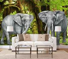 3d wallpaper Forest elephant wall papers home decor 3d wallpapers for living room bedroom kids room TV backdrop wallpaper(China)