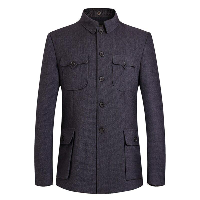 Men Mao Suits Jacket Chinese Tunic Suit Male Mandarin Wing Collar Blazer Sun Yat Sen Suit Zhongshan Coat Man Classical Blazer