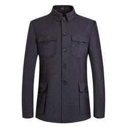 Chaqueta de Mao para hombre, traje de túnica china para hombre, Blazer con cuello de ala mandarín, traje de Sun Yat Sen, chaqueta Zhongshan, chaqueta clásica para hombre